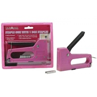 1pce Pink Staple Gun with 8mm Staples, Great for Home DIY and Repairs