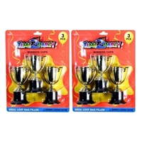 2 x 3pce Winners Cups 10cm High Silver and Gold Assorted Colours Loot Bag Filler