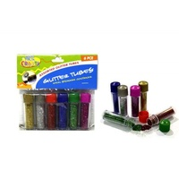 6pce Glitter Tubes - Screw Top 6 Assorted - Gold, Silver, Red, Blue, Green, Pink