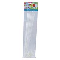 35cm Long 12pce Pack of Balloon Sticks & Fasteners - White Party and Business Promotions