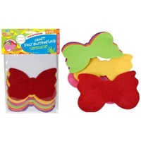 6pce Felt Butterflies 15cm, 6 Colours Great for Art and Craft and Scrapbooking