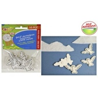 10pce Self Adhesive Wooden White Dove - Scrapbooking and Arts & Crafts
