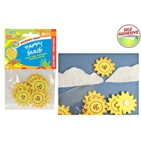 8pce Wooden Smilie Suns, great for card making, scrapbooking, school projects