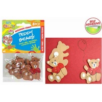 8pce Wooden Teddy Bears, great for card making, scrapbooking, school projects