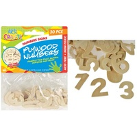 30pce 3cm Plywood Numbers, Scrapbooking, craft, art, office.