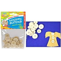 24pce Wooden Craft Buttons. Natural. Assorted Sizes - Scrapbooking, Craft, Dolls