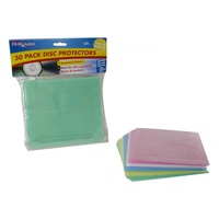 30pce CD/DVD Disc Protectors - Coloured 5 Assorted Colours