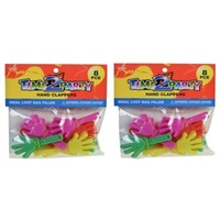 8pce 7.5cm Plastic Hand Clappers Assorted Colours, Great for Birthdays and Party Events