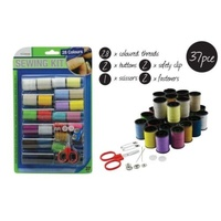 37pce Sewing Kit with 28 Colours, Buttons, Fasteners, Safety Clips, Sissors incl