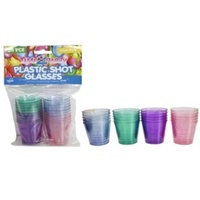 20pce x Plastic SHOT Glass-30ml-Coloured.Excellent for Parties,Birthdays,Vodka