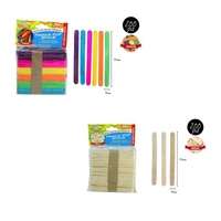 200pce Paddle Pop Sticks, Natural & Multi Colour, Scrapbooking, Craft