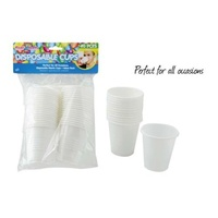 80pce Disposable White Plastic Cups 200mls Capacity Great for Parties and Events