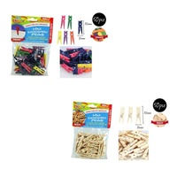 50 pce Wooden Mini Pegs, MULTI-Colour, Scrapbooking, craft, art, office