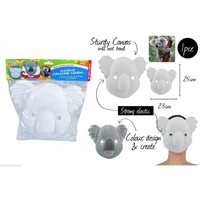 2pce Canvas Mask with Elastic Koala 23cm High DYI Paint Craft N Paint for Kids