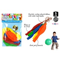 5pce Punch Balloons with Rubber Band Handle, Blows up to 25cm, Party Favourite