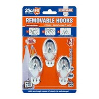 3pce Chrome SelfAdhesive Hooks, Holds 1kg Stick FX Hangers, Clean Removable