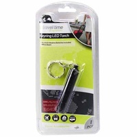 1pce Travel Time, Keyring LED Torch, Batteries Included, 8cm, Black/Steel Case