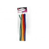 30cm 30pce Chenille Sticks in Assorted Colours Bright Colours Mixed