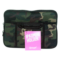 1Pce Mini Ipad Soft Zip Case/Cover/Pouch W/Extra Pockets-Army Camouflage