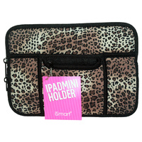 1Pce Mini Ipad Soft Zip Case/Cover/Pouch W/Extra Pockets-Leopard Print