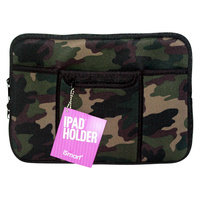 1Pce Ipad Soft Zip Case/Cover/Pouch W/Extra Pockets, Neoprene-Army Camouflage