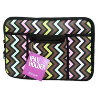 1Pce Ipad Soft Zip Case/Cover/Pouch With Extra Pockets, Neoprene-Retro Zig Zag