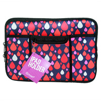 1Pce Ipad Soft Zip Case/Cover/Pouch With Extra Pockets, Neoprene-Retro Raindrops