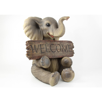 40cm Sitting Elephant Statue With Welcome Sign and Trunk Up With Happy Welcoming Face