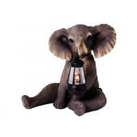 33cm Resin Sitting Elephant Statue with Trunk Up and Lantern Light