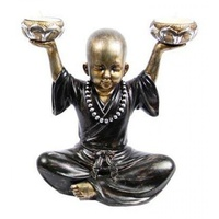 20cm Buddha Monk Tea Light Holder With Arms Up.