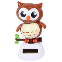 10cm Solar Power Grooving Owl When They Get Sun They Groove The Day Away - Brown
