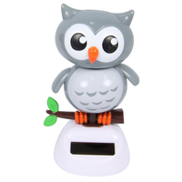 10cm Solar Power Grooving Owl When They Get Sun They Groove The Day Away - Grey