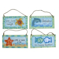 4pce 20cm x 10cm Beach Wording Inspirational Plaques Painted and Ceramic Glazed