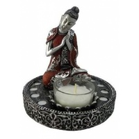 12cm Buddha Tealight Holder On Round Mirrored Base With Silver and Red Coat