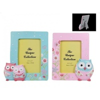 16.5cm Blue Flower Owl Photo Frame Resin for 3.5x5\ Prints""