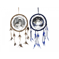 1pce 35CM Blue Wolf Design Dream Catcher with Beads and Feathers