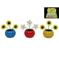 8cm Solar Powered Grooving Flower in Blue Pot - for Home, Car / Self Standing