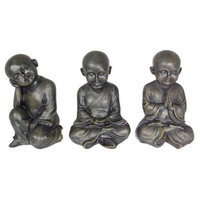 Set of 3pce x 19cm Meditating Monk Boys. Showing 3 Different Tranquil Poses