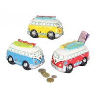 1 x RED 16cm Combi Van Money Box/Bank with Surf Boards on Roof Funkey & Groovy