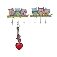 Set of 2 Wise Flower Owl Keyrack 2 Assorted with Metal Hook Key Hanger