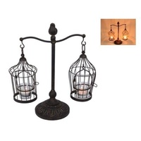 33cm Metal Antique & Bird Cage Style Tealight Candle Holder with glass cups