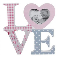 20x20cm Love Wording Photo/Picture Frame.Vintage Style With Polka Dots & Flowers