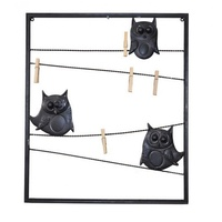 56x48cm Metal Owl Frame with Clips Wall Art Hangable with Pegs to Clip Pics