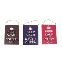 "17x13cm MDF PURPLE \Keep Calm and Have a Cuppa"" Hangable Sign"""""""
