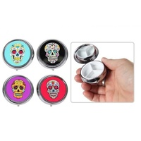 Set of 4 Sugar Candy Skull Pill Box Great for Traveling, Partying, Adventure