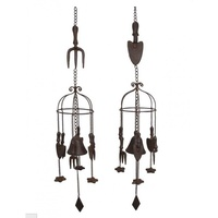 Cast Iron FORK Windchime with Small Forks and Spades Surrounded by a Bell