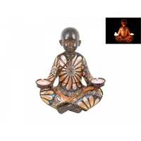 21cm Traditional Fabric Dressed Monk Tealight Holder Great For Meditation Rooms
