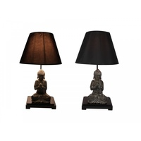 1pce 57cm Meditating Buddha Lamp on Pedestal with Lamp Shade, Zen, Lighting