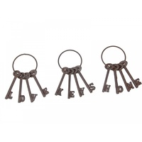 1pce 13cm Set of Vintage Style Keys, Cast Iron on Ring with Wording Detail