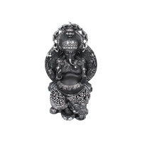 1pce 30cm Ganesh Throne Statue Shrine With Rat Worship in Silver & Black